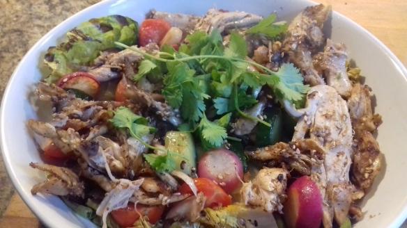 Sesame chicken and warm salad